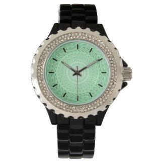 Montres Bracelet Motif vert de cercles de ressort