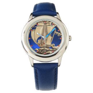 Montres Bracelet NAVIRE ANTIQUE, VAGUES de MER, bleu marine