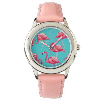 Montres Bracelet Oiseaux roses de flamant sur l'arrière - plan de