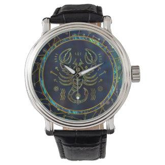 Montres Bracelet Ormeau d'or de zodiaque de Scorpion sur la