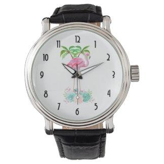 Montres Bracelet Palmiers et Succulents roses de flamant