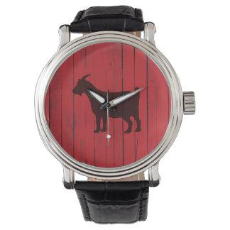 Montres Bracelet Panneau en bois rouge de chèvre rustique de pays