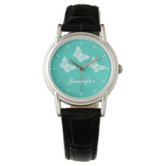 Montres Bracelet Papillons blancs sur la turquoise et le nom de