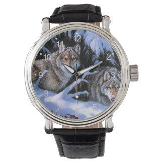 Montres Bracelet Peinture de loup - deux loups - loup arctique
