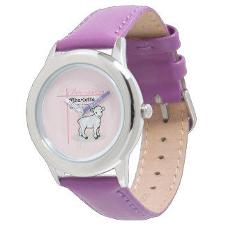 Montres Bracelet Personnalisable, baptême, rose, fille, agneau