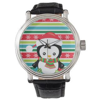 Montres Bracelet Pingouin de cadeau sur l'arrière - plan rayé de