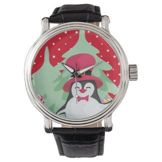 Montres Bracelet Pingouin de fête avec Sleigh - rouge