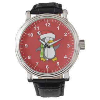 Montres Bracelet Pingouin de Noël marchant sur la neige