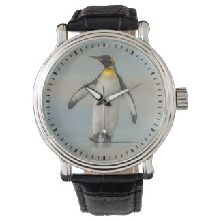 Montres Bracelet Pingouin marchant sur la plage