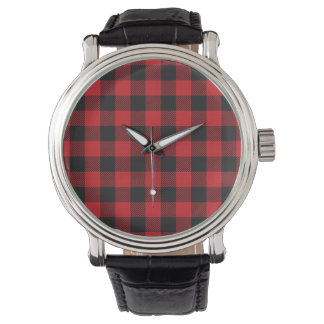 Montres Bracelet Plaid rouge de Buffalo noir personnalisé