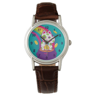 Montres Bracelet Pot de bonne chance de Maneki Neko de chat d'or