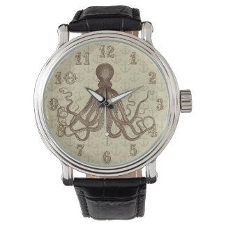 Montres Bracelet Poulpe vintage de Brown avec des ancres