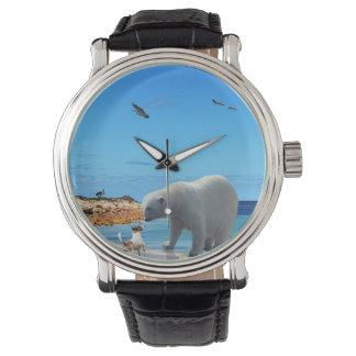 Montres Bracelet Rencontre d'ours blanc,