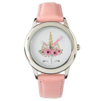 Montres Bracelet Rose d'acier inoxydable de licorne