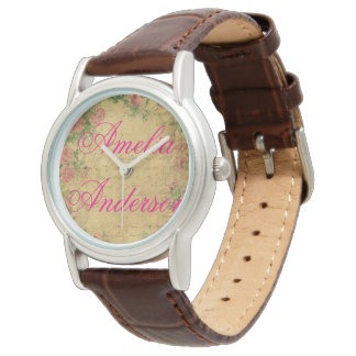 Montres Bracelet rustique, Parchement, porté, floral, lettres, cru,