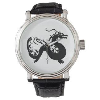 Montres Bracelet Silhouette asiatique de dragon
