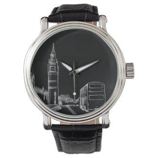 Montres Bracelet Simple élégant Big Ben de croquis noir de Londres