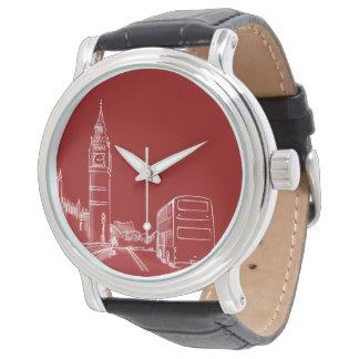 Montres Bracelet Simple élégant Big Ben de croquis rouge de Londres