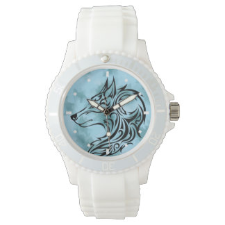 Montres Bracelet Tribal wolf in blue
