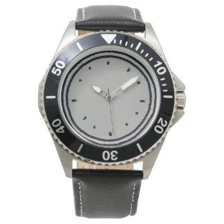 Montres Bracelet Visage d'horloge dessiné par charbon de bois de