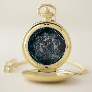 Montres De Poche Argent de zodiaque de Verseau de relief sur le