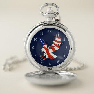 Montres De Poche Drapeau américain patriotique Eagle