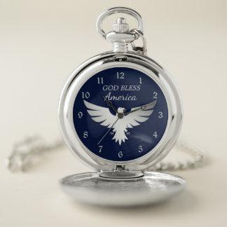 Montres De Poche L'Amérique patriotique Eagle argenté