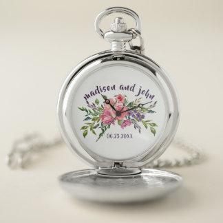 Montres De Poche Lavande de date de mariage et bouquet floral rose
