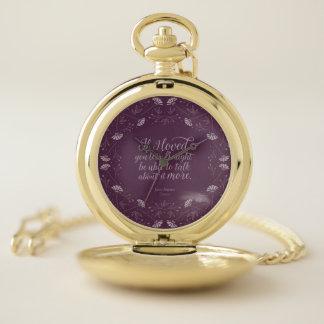 Montres De Poche Livre floral pourpre Jane Austen d'Emma de