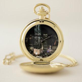Montres De Poche Lumière d'architecture d'horizon de nuit de NYC