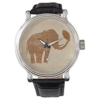 Montres tribales de conception d'art d'éléphant