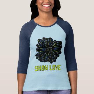 """""""Montrez à amour"""" 3/4 T-shirt de raglan de douille"""