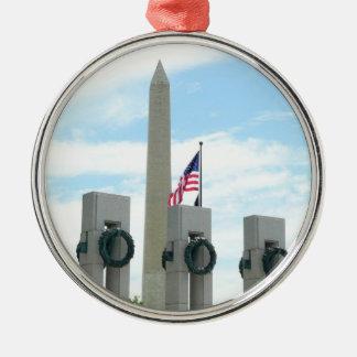 Monument et 2ÈME GUERRE MONDIALE de Washington Ornement Rond Argenté