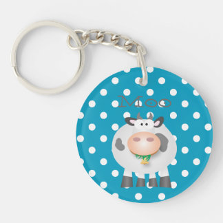 MOO drôle de vache et motif de point blanc de Porte-clés