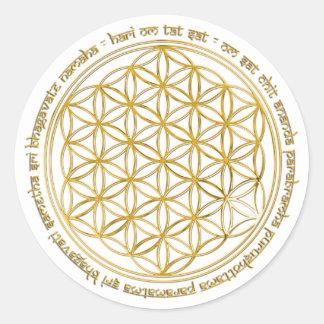 Moola mantra/fleur de la vie adhésif rond