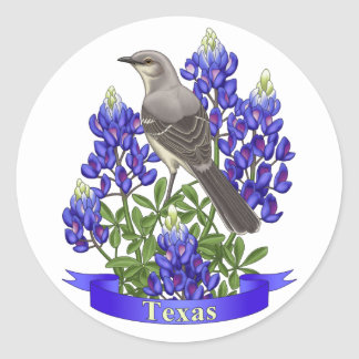 Moqueur d'état du Texas et fleur de Bluebonnet Sticker Rond
