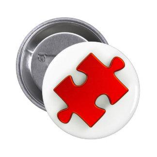 morceau du puzzle 3D (rouge métallique) Badge