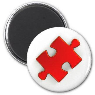 morceau du puzzle 3D (rouge métallique) Magnet Rond 8 Cm