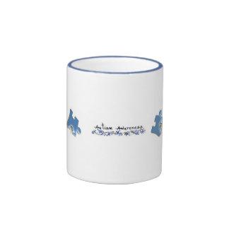 Morceaux bleus de puzzle - sensibilisation sur l'a mug ringer