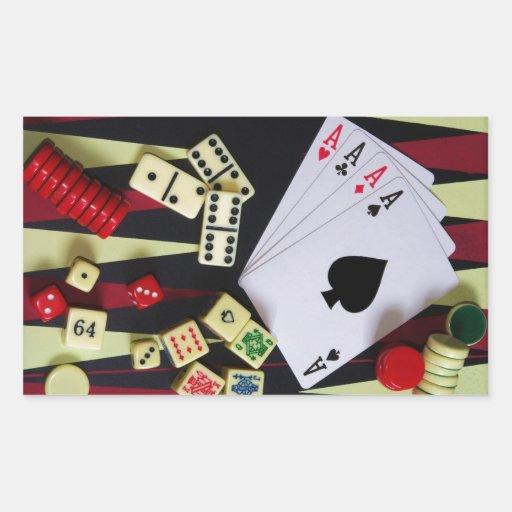 Morceaux de jeu de casino sticker en rectangle