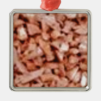 morceaux roses de roches ornement carré argenté