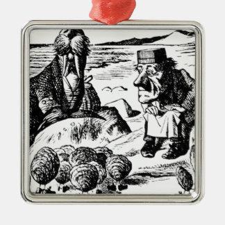 Morse, Carpeter et huîtres Ornement Carré Argenté