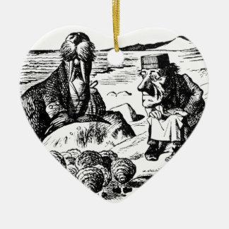 Morse, Carpeter et huîtres Ornement Cœur En Céramique
