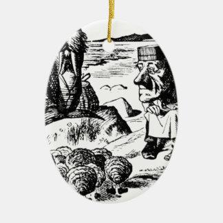 Morse, Carpeter et huîtres Ornement Ovale En Céramique