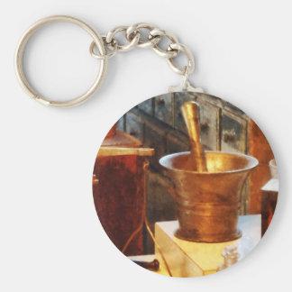 Mortier et pilon en laiton porte-clés