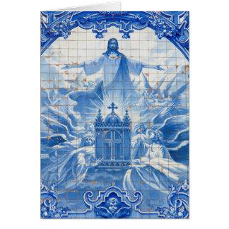 Mosaïque bleue de tuile de Jésus, Portugal Carte De Vœux