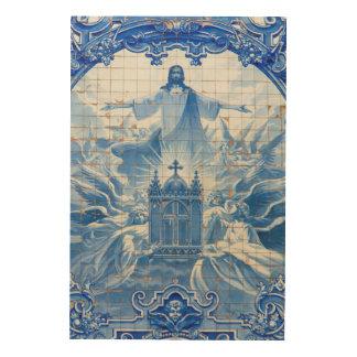 Mosaïque bleue de tuile de Jésus, Portugal Impression Sur Bois
