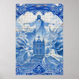 Mosaïque bleue de tuile de Jésus, Portugal Poster