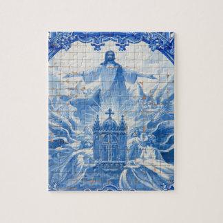 Mosaïque bleue de tuile de Jésus, Portugal Puzzle