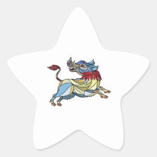 Mosaïque caracolante de balénoptère de sanglier sticker étoile